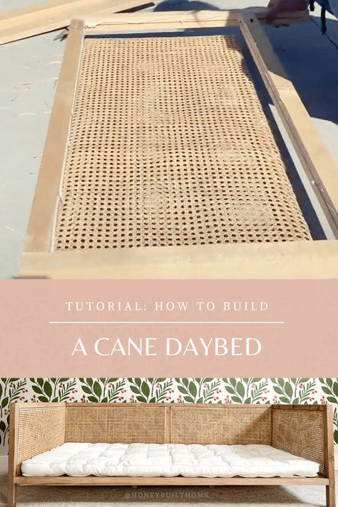 A cane daybed or cane headboard from simple and cane webbing. Diy Wood Projects, Furniture Projects, Furniture Makeover, Home Projects, Diy Furniture, Diy Daybed, Diy Headboards, Diy Bed Headboard, Diy Bedroom Decor