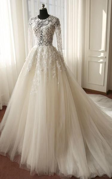 Long Sleeve Illusion Bodice Tulle Ball Gown Wedding Dress with Lace Ap – DorrisDress