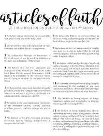FREE Articles of Faith Large Printable