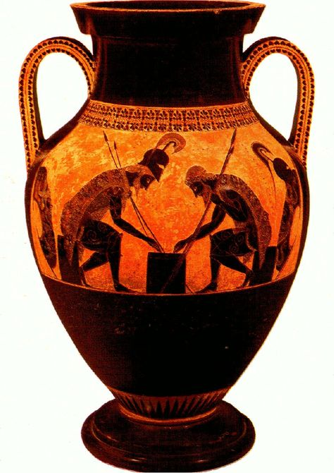 Ancient Greek vase: I love the colours in this piece. I believe the design is something to do with the Gods, because the greek worshipped their gods very heavily. It's possible that the picture is of the god Hephaestus, because if you look at the background, it isn't solid orange, it's got flecks of yellow in it, suggesting fire. This vase combines beauty with usefulness.
