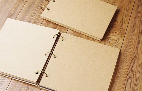 Square Ring Binder Kraft Scrapbook Album // 50 pages // Folder Album // Wedding Album // Graduation Photo Album