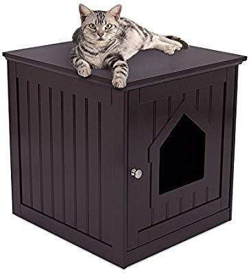 Internet S Best Decorative Cat House Side Table Cat Home Nightstand Indoor Pet Crate Cat Box Furniture Wooden Cat House Litter Box Furniture