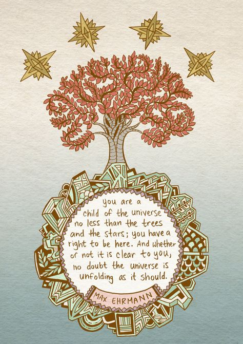 Desiderata quote art print - recycled paper