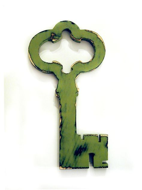 Skeleton Key 1 in Sage Pine Wood Sign Wall Decor by ThePineNuts ...