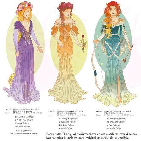 XSTITCH PATTERN Merida, Princess Mucha Style, Original Art by Hannah Alexander (Third Edition), Cros