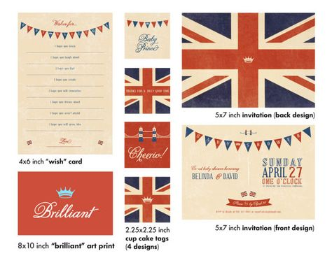 Front and back 5x7 digital British design (PDF). Front design customized with your name, date and contact information! Also included: 4x6 wish