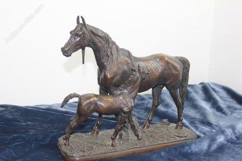 Bronze Horse Mare /& Foal Signed Harriet Glen Equestrian
