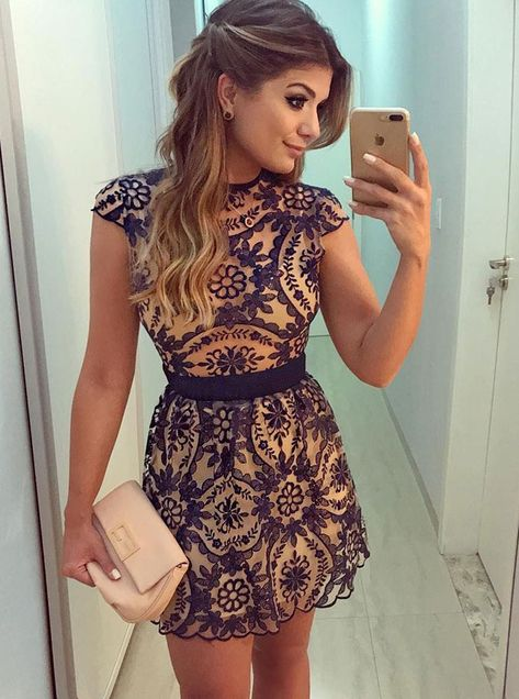 e10ce5ac9 Sweet Short Sleeve Round-Neck Hollowed-Out Lace Dress only  31.99 ...