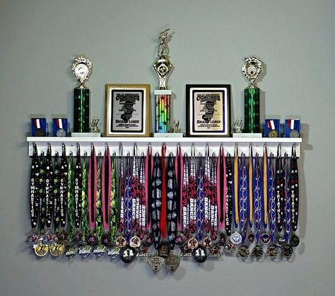 Premier Medal Hanger Award Display and Trophy Shelf The Premier Award Display Rack for all your hard-earned Award Medals, Trophies, and Plaques! Trophy Shelf, Trophy Display, Award Display, Display Medals, Race Medal Displays, Award Ribbon Display, Diploma Display, Medal Display Case, Kids Bedroom