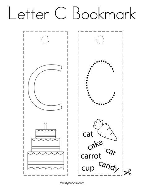 Letter C Bookmark Coloring Page Twisty Noodle Lettering Coloring Pages Letter C Coloring Pages