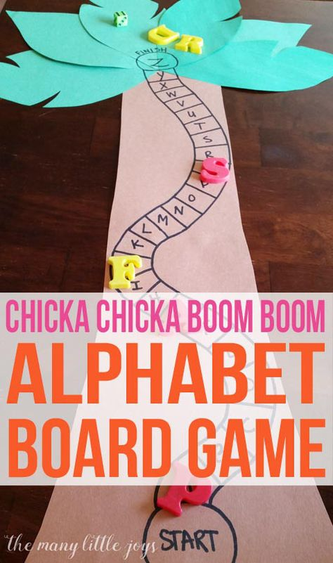 Chicka Chicka Boom Boom Alphabet Game - The Many Little Joys - - This alphabet skills game is perfect for preschoolers and is a great extension activity to go along with the beloved book, Chicka Chicka Boom Boom. Kindergarten Literacy, Early Literacy, Preschool Classroom, Preschool Learning, Preschool Activities, Alphabet Games For Preschoolers, Preschool Letters, Alphabet Games For Kindergarten, Preschool Board Games