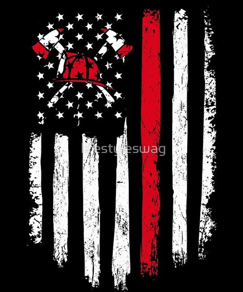 """""""Firefighter Gift - Distressed American Flag Firefighter"""" Art Prints by lifestyleswag Firefighter Decals, Firefighter Paramedic, Firefighter Love, Wildland Firefighter, Firefighter Shirts, Volunteer Firefighter, Firefighter Tattoos, Firefighter Quotes, Firefighter Images"""