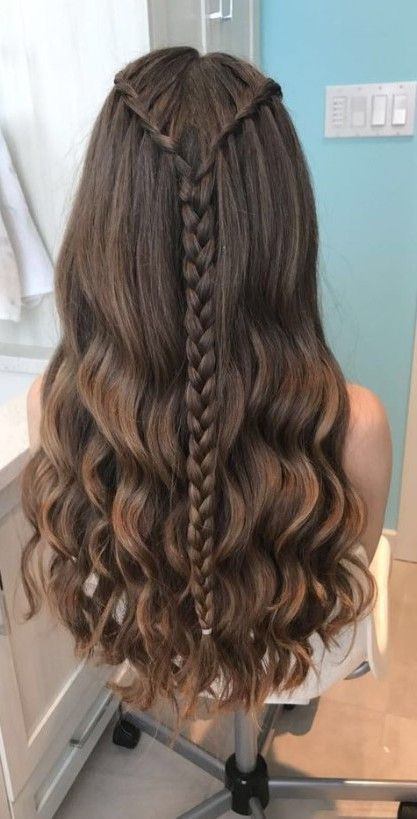 22 Cute And Easy Long Hairstyle For Summer Viviehome In 2020 Braided Hairstyles Waterfall Braid Hairstyle Hair Styles