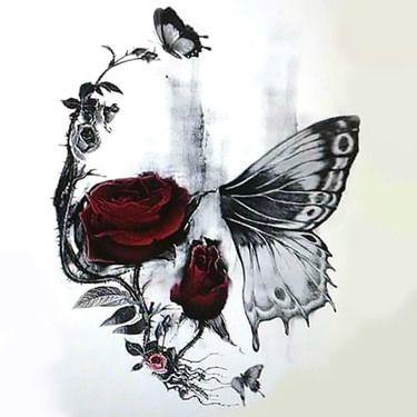 Schädel Schmetterling und Rose Tattoo Design -