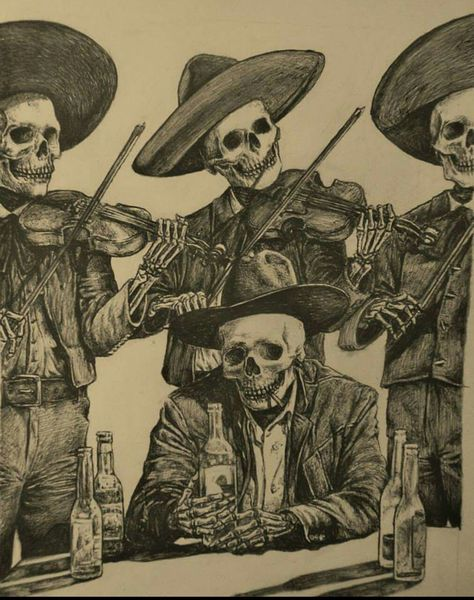 In México.A Broken heart.whit Friends, a Love Song and a bottle of tequila. The day of The dead tradition. Mexican Skull Tattoos, Mexican Skulls, Mexican Skeleton, La Muerte Tattoo, Los Muertos Tattoo, Chicano Tattoos, Day Of The Dead Art, Skeleton Art, Skeleton Makeup