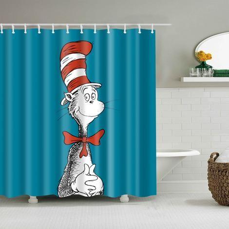 Dr Seuss Cat In The Hat Shower Curtain Kid Bathroom Decor