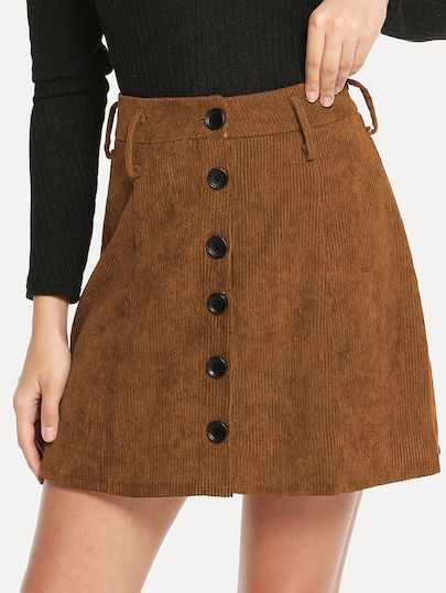 8517cd647f66a Single Breasted Corduroy Skirt in 2019   New Arrivals in Dec ...