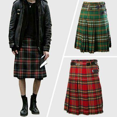Scottish Mens Kilt Traditional Highland Dress Skirt Tartan Kilts Pleated Sizes