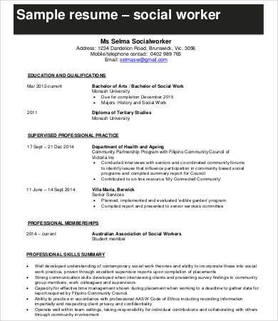 Social Worker Resume Templates 12 Free Ms Word Pdf Sample