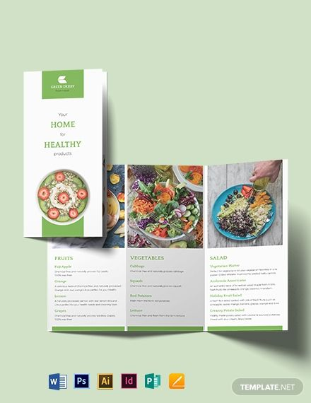 Organic Food Tri Fold Brochure Template Word Doc Psd Indesign Apple Mac Pages Illustrator Publisher Trifold Brochure Template Trifold Brochure Trifold Brochure Design