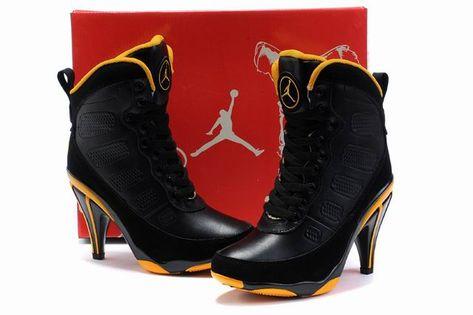 Women s Shoes    Jordan Stiletto Boots    Nike Air Jordan 9 Black Yellow High  Heels Stiletto Boots - A money-saving online store of Men and women casual  ... 5edc970f2