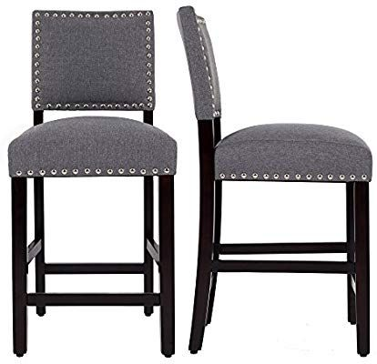 Amazon Com Dagonhil 24 Counter Height Bar Stools With Solid Wood Legs Set Of 2 Gray Kitchen D Counter Height Bar Stools Farmhouse Bar Stools Bar Stools