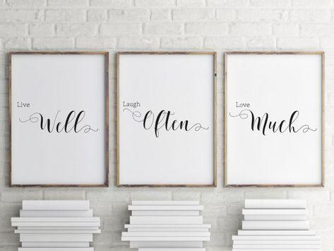 Live Laugh Love Wall Art, Set of 3 prints, Home decor, Bedroom wall art, Minimalist art poster, blac