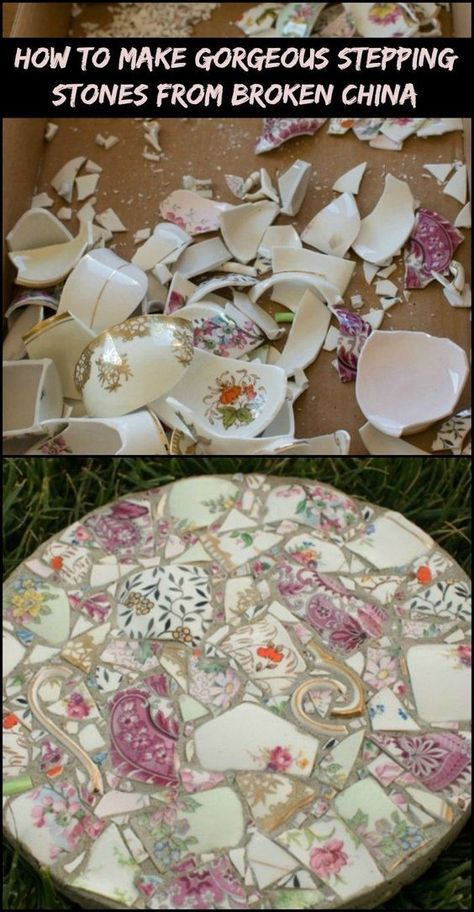 Character to Your Garden by Turning Broken China into Gorgeous Stepping Ston., Add Character to Your Garden by Turning Broken China into Gorgeous Stepping Ston., Add Character to Your Garden by Turning Broken China into Gorgeous Stepping Ston. Mosaic Diy, Mosaic Crafts, Mosaic Projects, Mosaic Glass, Garden Projects, Diy Projects, Furniture Projects, Up Cycled Furniture, Diy Furniture Upcycle