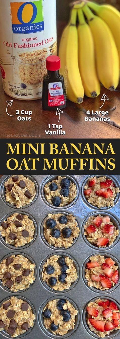 Looking for easy healthy snacks for kids to make? These on the go banana oat muffins are perfect for toddlers, kids AND adults! Just 3 ingredients! Even picky eaters will enjoy these fast little treats. These healthy banana oat muffins are great for schoo Oat Muffins Healthy, Breakfast Healthy, Eating Healthy, Healthy Breakfast Pregnancy, Healthy Cooking, Breakfast Ideas For Kids, Healthy Toddler Muffins, Cooking Tips, Easy Breakfast Muffins