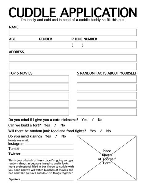 Cuddle Application Form Valentine Love Pinterest Cuddling - application form in doc