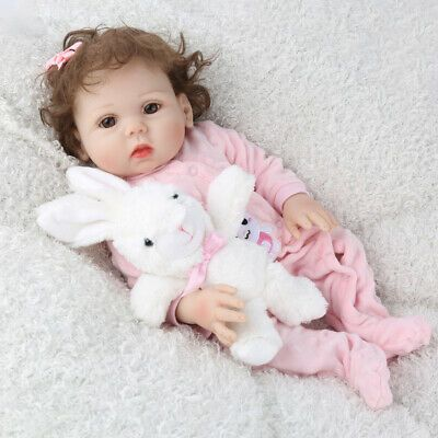 "18/"" Lifelike Full Body Silicone Reborn Baby Doll Newborn Vinyl Baby Girl Dolls"