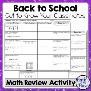 Back to School - Get to Know Each Other - Math Review Activity