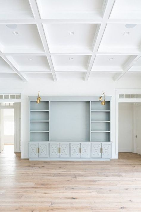 Cabinetry paint color is the same as the kitchen island;- Cabinetry paint color is the same as the kitchen island; Sherwin Williams Smoky … Cabinetry paint color is the same as the kitchen island; Living Room Built Ins, Living Room Decor, Living Room Ceiling Ideas, Bedroom Built Ins, Dining Room, Coastal Living Rooms, Living Spaces, Cabinet Paint Colors, Muebles Living