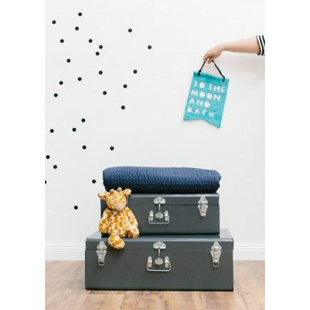 oh my good golly i love these. Painted Metal Trunk Set (charcoal) from Lark