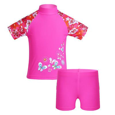 Sun Protective Rashguard Bathing Suit Swimwear Swimsuit Tankini Girl 2PCS UPF50