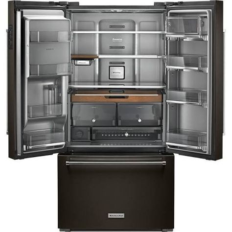 kitchenaid fridge black stainless | Counter depth french ...