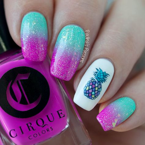 Gradient with pineapple nail art