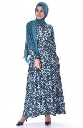 Sefamerve Desenli Elbise 6162d 01 Yesil Siyah Abaya Fashion Casual Abaya Hijab Fashion