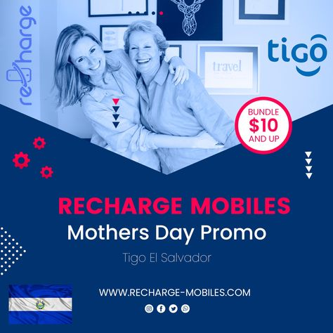 𝐓𝐢𝐠𝐨 𝐄𝐥 𝐒𝐚𝐥𝐯𝐚𝐝𝐨𝐫 📲⠀ Mothers Day Promo 𝐂𝐨𝐮𝐧𝐭𝐫𝐲: El Salvador⠀ 𝐃𝐞𝐧𝐨𝐦𝐢𝐧𝐚𝐭𝐢𝐨𝐧𝐬: Bundle USD 10 and up⠀ ⠀ 𝐓𝐞𝐫𝐦𝐬 𝐚𝐧𝐝 𝐂𝐨𝐧𝐝𝐢𝐭𝐢𝐨𝐧𝐬: 📑⠀ ⠀ ➞ This offer will be available starting May 1st 2021 until May 31st 2021.⠀  ➞ The promotion consists of more GB of navigation in bundles for all bundles sent from $10 and up.⠀  Recharge Mobile with www.recharge-mobiles.com 🔝 ⠀ #rechargemobiles #mobiletopup #mobilerecharge