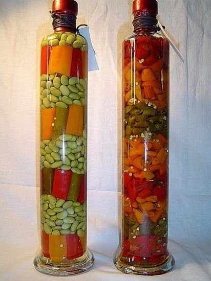 Decorative Bottle With Vegetables For The Kitchen Decor In 2020 Bottles Decoration Decorative Glass Jars Water Bottle Crafts