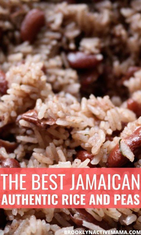 Delicious Authentic Jamaican Rice and Peas Recipe made with coconut milk, allspice, scallions and more! I've tried many recipes but this one is the best hands down! Jamaican Cuisine, Jamaican Dishes, Jamaican Recipes, Jamaican Oxtail, Jamaican Rasta, Jamaican Rice And Beans, Authentic Jamaican Rice And Peas Recipe, Jamaican Coconut Rice, Jamaican Brown Stew Chicken