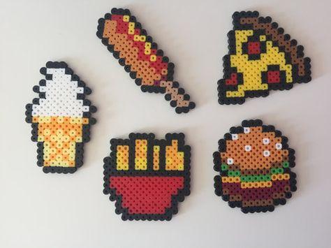 Fast Food: Hamburger Fries Pizza Corn Dog Ice by PixelPrecious