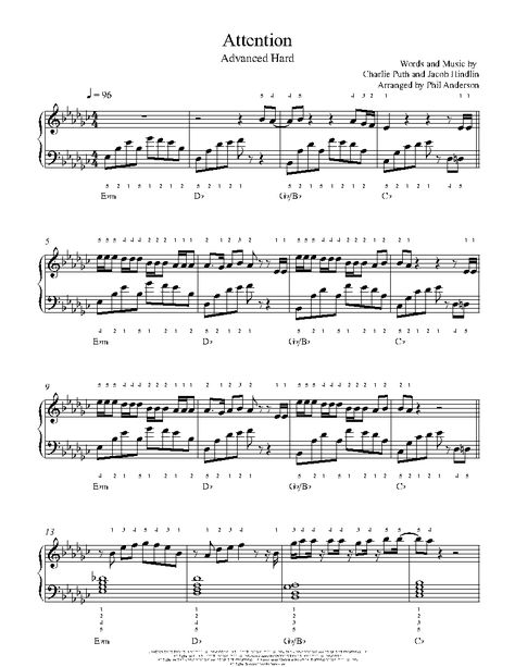 Attention By Charlie Puth Piano Sheet Music Advanced Level
