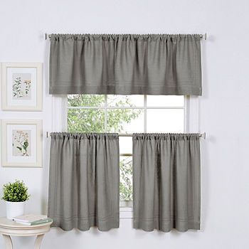 Home Expressions Marin 2 Pc Rod Pocket Kitchen Curtain Set