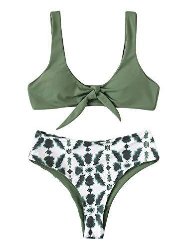 SweatyRocks Women's Bikini Tie Knot Front Swimsuit High