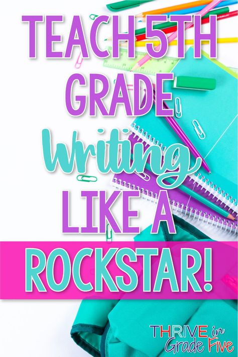 grade writing is so much fun to teach! This post lays out my best tips for teaching grade writing, along with the sequence and pacing that I use! Fifth Grade Writing, 5th Grade Ela, Teaching 5th Grade, 5th Grade Teachers, 5th Grade Classroom, 5th Grade Reading, Science Classroom, 5th Grade Writing Prompts, Writing Strategies