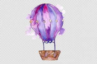 Hot Air Balloon Png Watercolor Set Graphic By Mystocks Balloon
