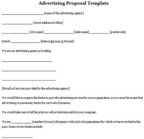 Advertising Proposal Template Sample Proposals Pinterest - catering quote template