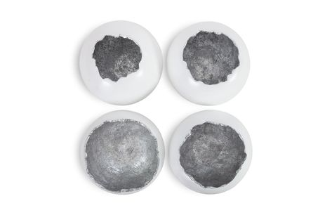 "From the Dann Foley Lifestyle Collection, Phillips Collection introduces more of the best selling Broken Egg series. Crafted from artisan-grade resin and finished in a matte white or black and hand-applied gold or silver leaf, these pieces will stand out in any space. Set of 4 12"" x 12"" x 13"" each Â"