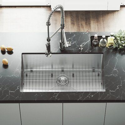 Mercer 32 Inch Undermount Single Bowl 16 Gauge Stainless Steel Kitchen Sink With Zurich Chrome Faucet Grid Strainer And Soap Dispenser Faucet Finis In 2020 Apron Sink Kitchen Sink Farmhouse Sink Kitchen